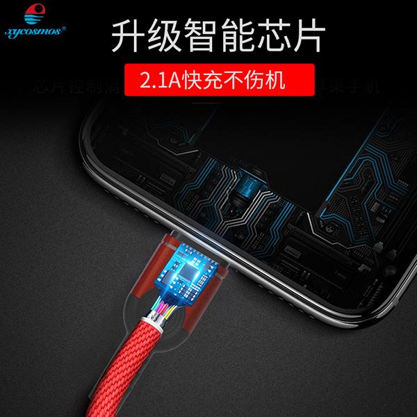 湘元宇lightning数据线苹果iphone充电线快充编织线手机波纹充电器