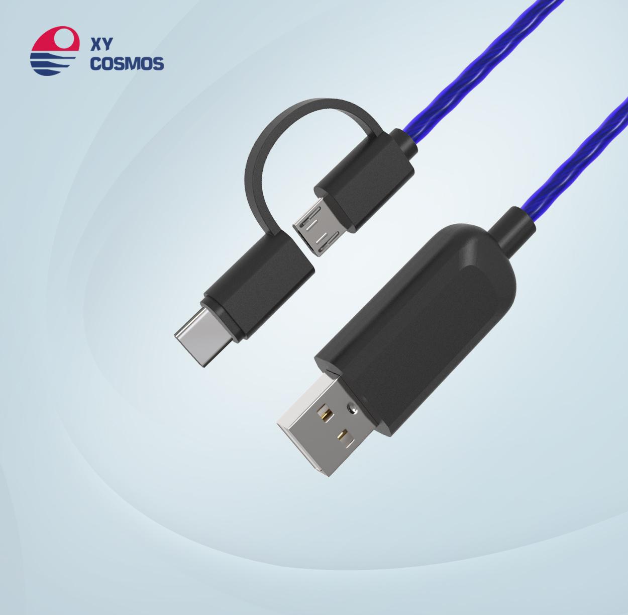 湘元宇二合一流光线数据线适用苹果iPhone Type-c追光发光线 el发光数据线